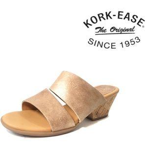 Korks Korkease Wedge Slide Sandals Tan / Gold, 7